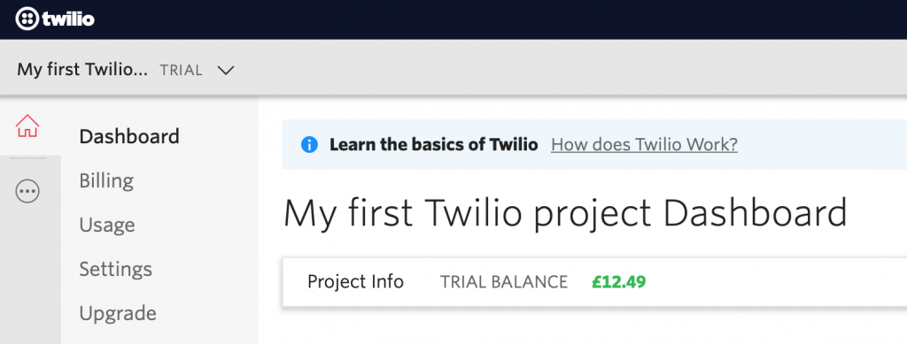 Twilio Account Dashboard
