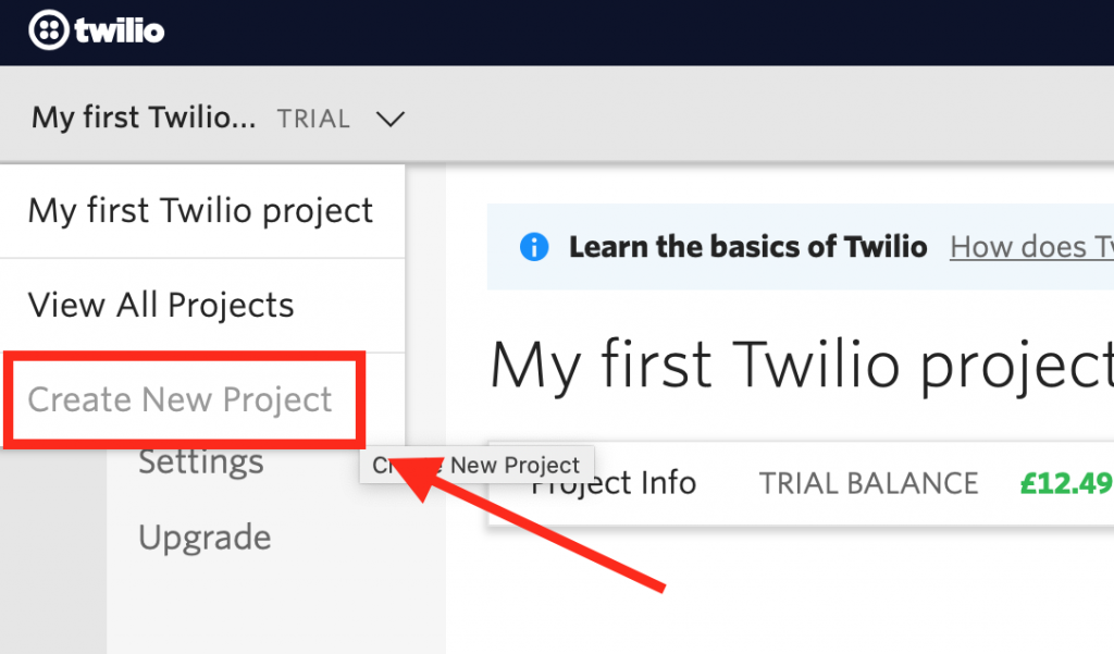 Twilio Create New Project
