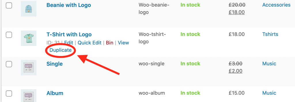 WooCommerce Duplicate Product Button